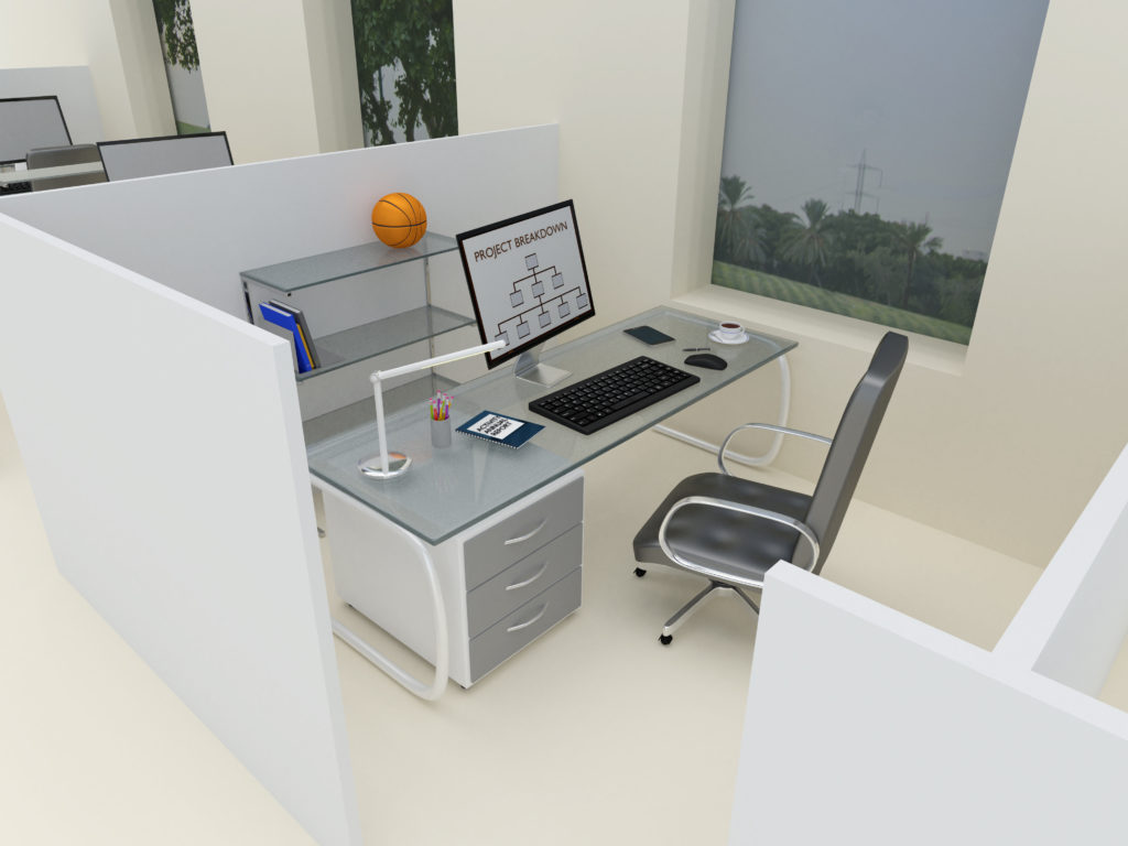 An artist 3D illustration of a clean, modern cubicle workstation with a contemporary desk and office chair.