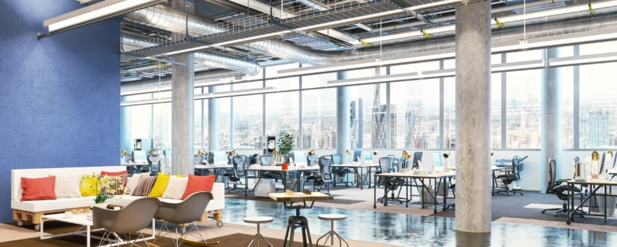 Empty workplace, modern office with large windows